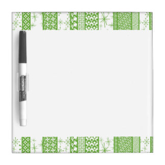 "Pantone's ""Greenery"" with Retro Pattern Stripes Dry Erase Whiteboards"