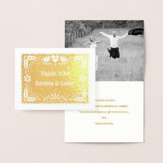 Papel picado wedding Thank you photo gold Foil Card