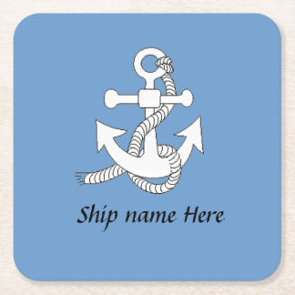Paper Coaster - Ship's anchor and name, blue