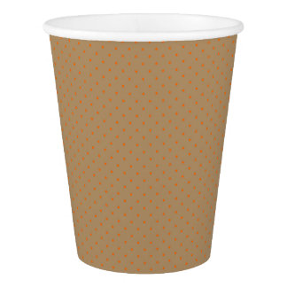 Paper Cups Gold with Orange Dots