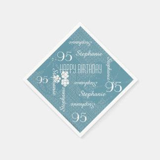 Paper Napkins, 95th Birthday Party, Blue Floral Disposable Serviettes