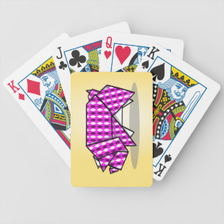 Paper Origami Pig with Argyle Pattern Paper Bicycle Playing Cards