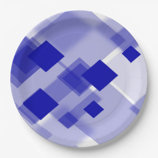 Paper plate   Abstract argyle blue white custom