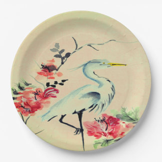 Paper plate   Asian crane flower ivory pink