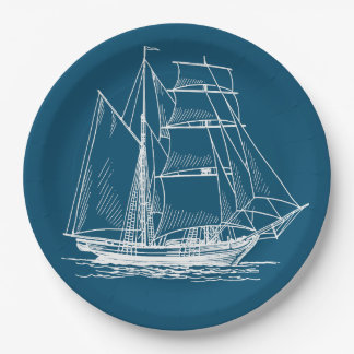 Paper plate  Blue sail boat ship nautical 9 Inch Paper Plate
