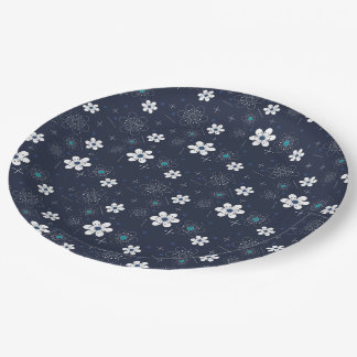 Paper plate retro blue aqua white flower