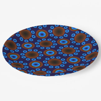 Paper plate retro blue brown dots 9 inch paper plate