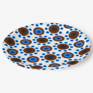 Paper plate retro blue white brown dots 9 inch paper plate