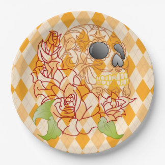 Paper plate Skull Retro yellow argyle rockabilly 9 Inch Paper Plate