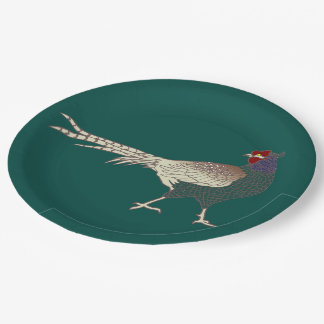Paper plate vintage retro Pheasant bird turquoise 9 Inch Paper Plate