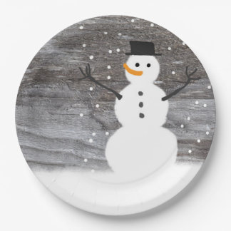 Paper plate white cute Rustic  snowman Christmas 9 Inch Paper Plate