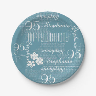 Paper Plates, 95th Birthday Party Blue Floral 7 Inch Paper Plate