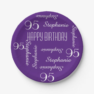 Paper Plates, 95th Birthday Party Repeating Names 7 Inch Paper Plate