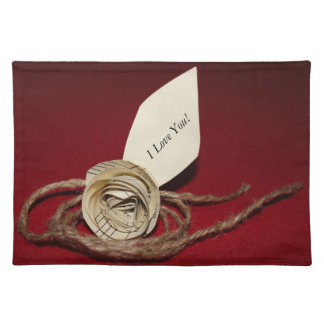 Paper Rose with Twine on Red Background Placemats