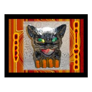 Papier Mache Halloween Cat Matching Items Postcard