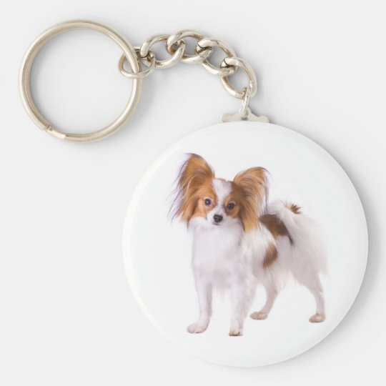 Papillon Brown and White Puppy Dog Key Ring