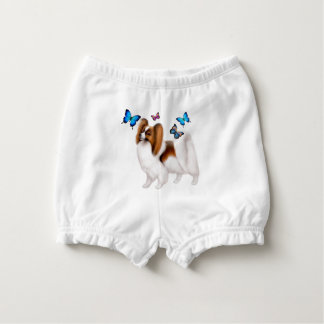 Papillon Dog with Butterflies Baby Bloomers Nappy Cover