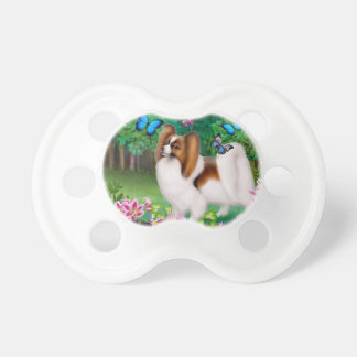 Papillon Dog with Butterflies Pacifier