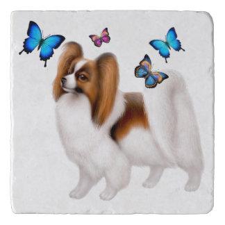 Papillon Dog with Butterflies Stone Trivet
