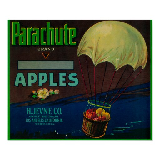 Parachute Apple Crate Label Posters