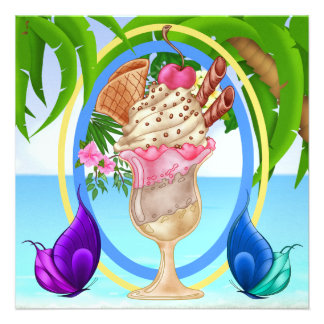 Paradise Beach Ice Cream Custom Invitations