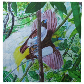 Paradise Birds in Watercolor Napkin