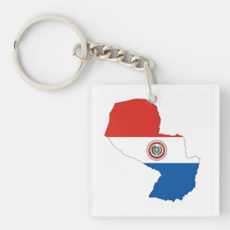 paraguay country flag map shape silhouette key ring