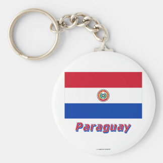 Paraguay Flag with Name Key Ring