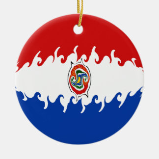 Paraguay Gnarly Flag Round Ceramic Decoration