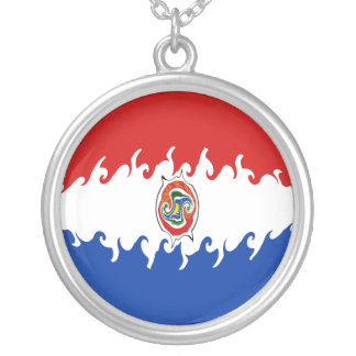Paraguay Gnarly Flag Round Pendant Necklace