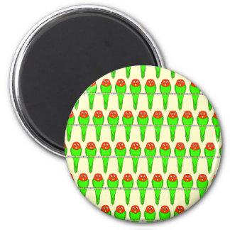 Parakeet Birds Pattern. 6 Cm Round Magnet