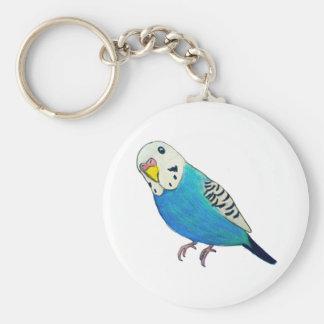 Parakeet Drawing Basic Round Button Key Ring