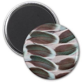 Parakeet Wing Feather Design 6 Cm Round Magnet