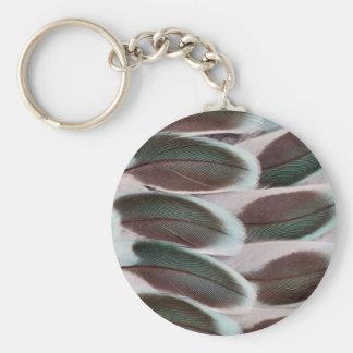 Parakeet Wing Feather Design Basic Round Button Key Ring