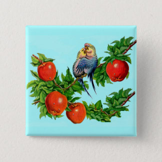 parakeets in love 15 cm square badge