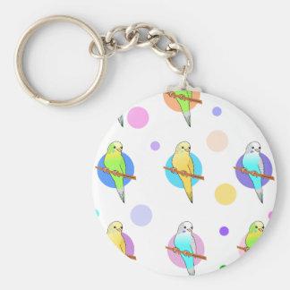 Parakeets & Polka Dots Pattern Basic Round Button Key Ring
