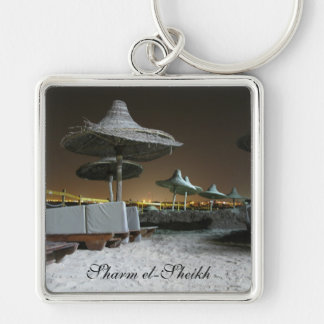 Parasols at Night in Sharm el Sheikh, Egypt Silver-Colored Square Key Ring