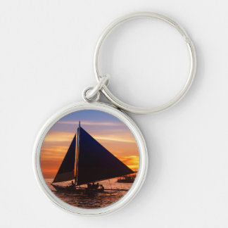 Paraw Sailing At Sunset |Phillipines Silver-Colored Round Key Ring