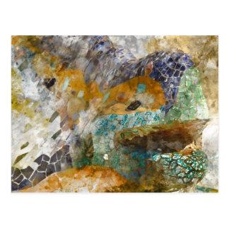 Parc Guell Barcelona Spain Mosaic Lizard Postcard