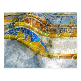Parc Guell Mosaic Benches in Barcelona Spain Postcard