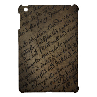 Parchment text with antique writing, old paper case for the iPad mini