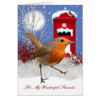Parents Christmas Greeting Card With Robin