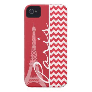 Paris; Alizarin Crimson Chevron iPhone 4 Case-Mate Cases