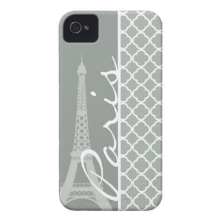 Paris; Ash Gray Moroccan Quatrefoil iPhone 4 Cover