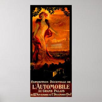 Paris Auto Show 1907 Vintage Automobile Ad Posters