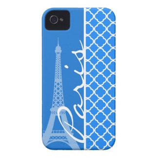 Paris; Azure Blue Quatrefoil iPhone 4 Case-Mate Cases