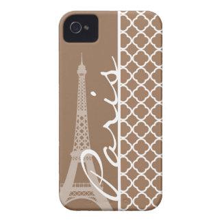 Paris; Chamoisee Quatrefoil iPhone 4 Case