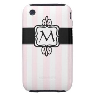 Paris Chic Pink Stripe Initial iPhone 3 Case-Mates Tough iPhone 3 Cases