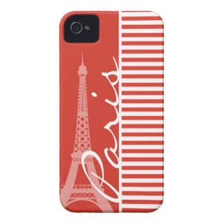 Paris; Cinnabar Color Horizontal Stripes iPhone 4 Cases