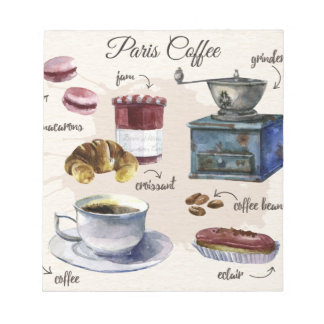 Paris coffee and pastry treats illustration notepad